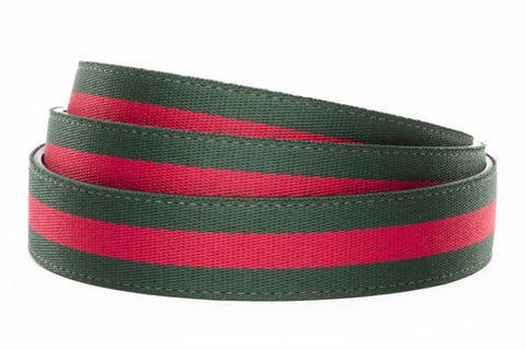 "1.25"" Green-Red Stripe Cloth Strap - Anson Belt & Buckle"