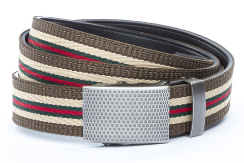 1-25-quot-anson-golf-buckle-in-gunmetal 1-25-quot-green-red-stripe-w-trim-cloth-strap