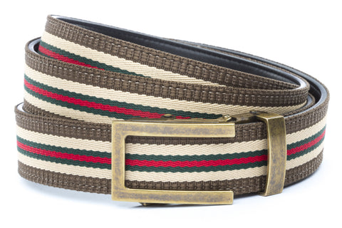 1-25-quot-traditional-buckle-in-antiqued-gold 1-25-quot-green-red-stripe-w-trim-cloth-strap
