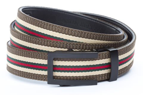 1-25-quot-traditional-buckle-in-black 1-25-quot-green-red-stripe-w-trim-cloth-strap