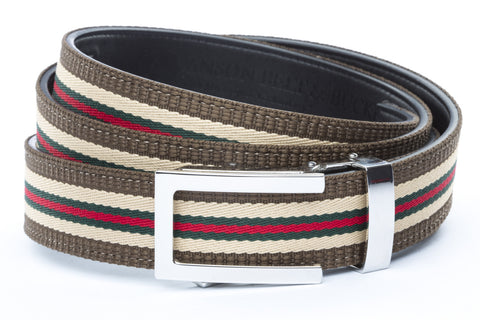 1-25-quot-nickel-free-traditional-buckle 1-25-quot-green-red-stripe-w-trim-cloth-strap