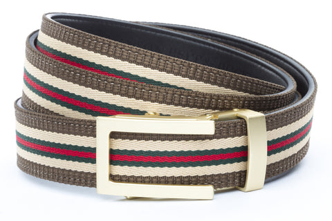 1-25-quot-traditional-buckle-in-matte-gold 1-25-quot-green-red-stripe-w-trim-cloth-strap