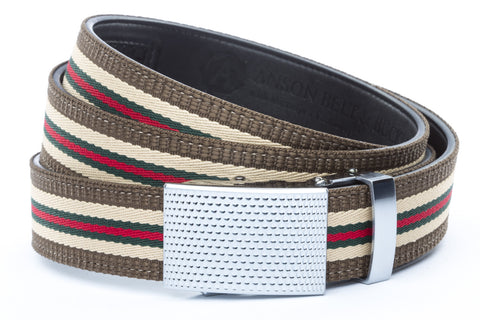 1-25-quot-anson-golf-buckle-in-silver 1-25-quot-green-red-stripe-w-trim-cloth-strap