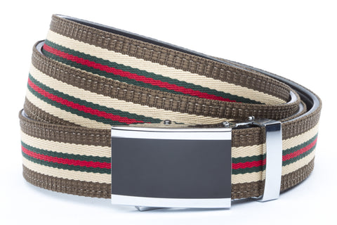 1-25-quot-onyx-buckle 1-25-quot-green-red-stripe-w-trim-cloth-strap