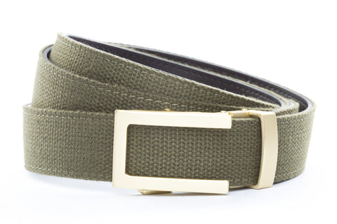 1-25-quot-traditional-buckle-in-matte-gold 1-25-quot-olive-drab-canvas-strap