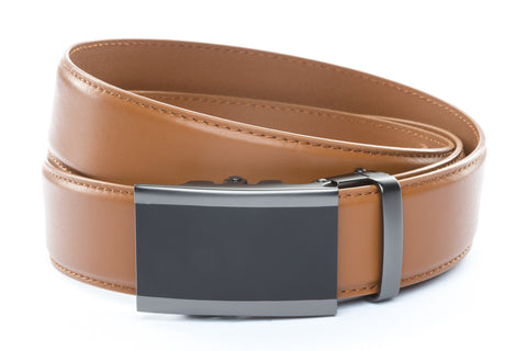 1-5-quot-onyx-buckle-in-matte-gunmetal 1-5-quot-saddle-tan-leather-strap