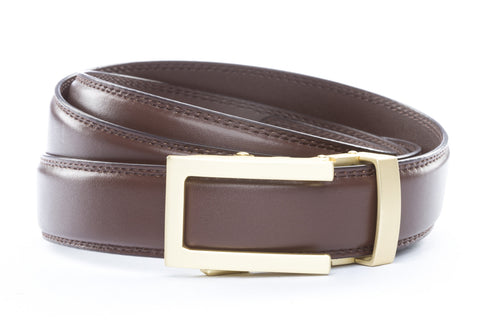 1-25-quot-traditional-buckle-in-matte-gold 1-25-quot-chocolate-leather-strap