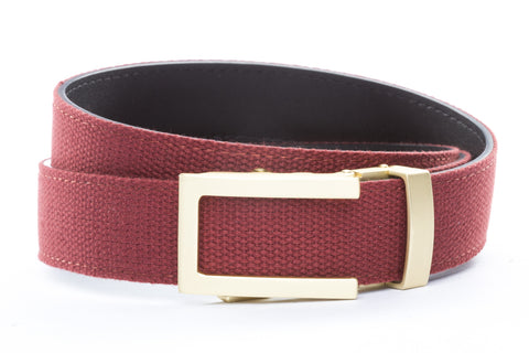 1-25-quot-traditional-buckle-in-matte-gold 1-25-quot-crimson-canvas-strap