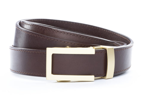 1-25-quot-traditional-buckle-in-matte-gold 1-25-quot-chocolate-vegetable-tanned-leather-strap
