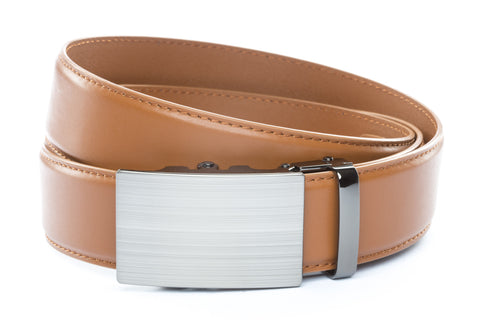 1-5-quot-classic-buckle-in-formal-gunmetal 1-5-quot-saddle-tan-leather-strap