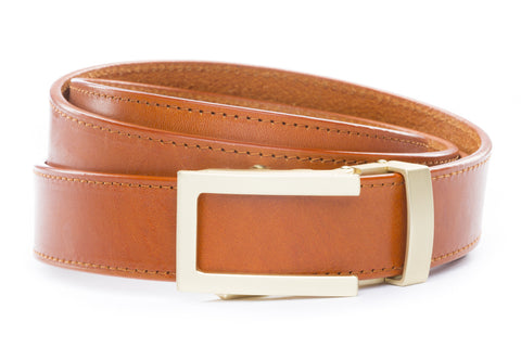 1-25-quot-traditional-buckle-in-matte-gold 1-25-quot-saddle-tan-vegetable-tanned-leather-strap