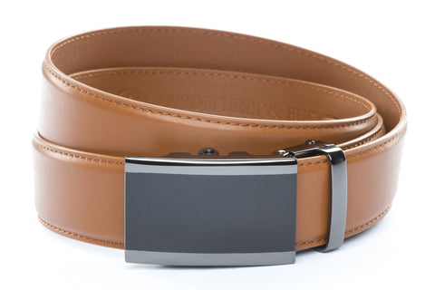 1-5-quot-onyx-buckle-in-smoked-gunmetal 1-5-quot-saddle-tan-leather-strap