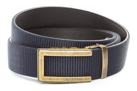 1-5-quot-traditional-buckle-in-antiqued-gold 1-5-quot-navy-nylon-strap