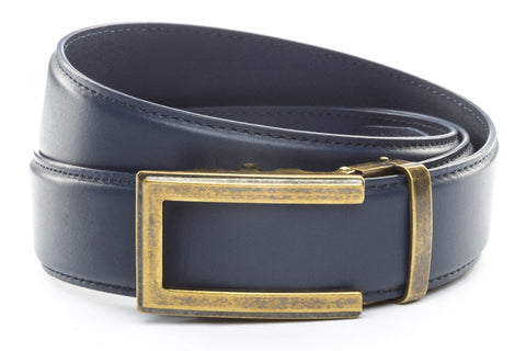 1-5-quot-traditional-buckle-in-antiqued-gold 1-5-quot-navy-leather-strap