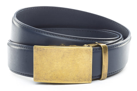 1-5-quot-classic-buckle-in-antiqued-gold 1-5-quot-navy-leather-strap