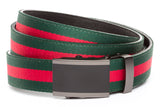 1-25-quot-onyx-buckle-in-matte-gunmetal 1-25-quot-green-red-stripe-cloth-strap