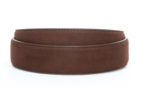 "1.5"" Chocolate Micro-Suede Strap - Anson Belt & Buckle"