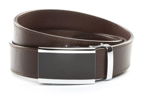 1-5-quot-onyx-buckle-in-silver 1-5-quot-chocolate-vegetable-tanned-leather-strap