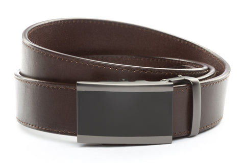 1-5-quot-onyx-buckle-in-matte-gunmetal 1-5-quot-chocolate-vegetable-tanned-leather-strap