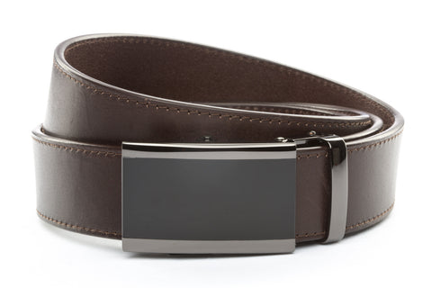 1-5-quot-onyx-buckle-in-smoked-gunmetal 1-5-quot-chocolate-vegetable-tanned-leather-strap