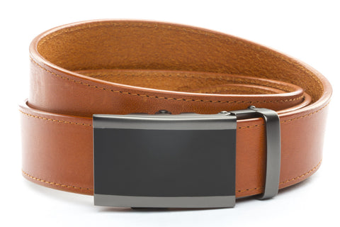 1-5-quot-onyx-buckle-in-matte-gunmetal 1-5-quot-saddle-tan-vegetable-tanned-leather-strap