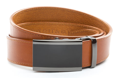 1-5-quot-onyx-buckle-in-smoked-gunmetal 1-5-quot-saddle-tan-vegetable-tanned-leather-strap