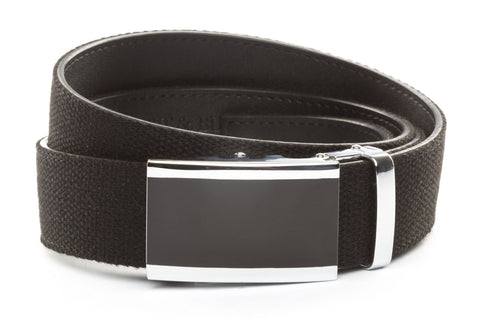 1-5-quot-onyx-buckle-in-silver xl-1-5-quot-black-canvas-strap