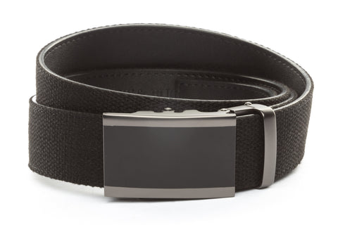 1-5-quot-onyx-buckle-in-matte-gunmetal xl-1-5-quot-black-canvas-strap