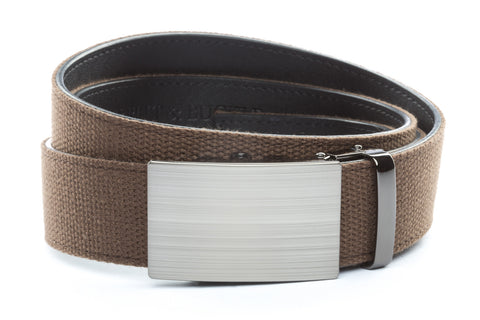 1-5-quot-classic-buckle-in-formal-gunmetal 1-5-quot-brown-canvas-strap