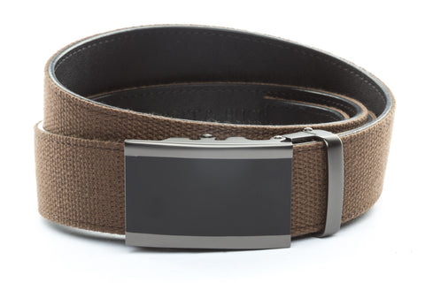 1-5-quot-onyx-buckle-in-matte-gunmetal 1-5-quot-brown-canvas-strap