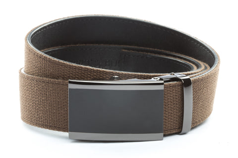1-5-quot-onyx-buckle-in-smoked-gunmetal 1-5-quot-brown-canvas-strap