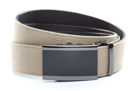1-5-quot-onyx-buckle-in-smoked-gunmetal 1-5-quot-khaki-canvas-strap