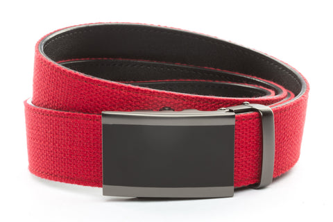 1-5-quot-onyx-buckle-in-matte-gunmetal 1-5-quot-red-canvas-strap