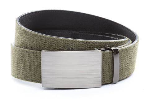 1-5-quot-classic-buckle-in-formal-gunmetal 1-5-quot-olive-drab-canvas-strap