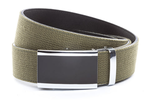 1-5-quot-onyx-buckle-in-silver 1-5-quot-olive-drab-canvas-strap