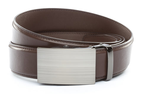 1-5-quot-classic-buckle-in-formal-gunmetal 1-5-quot-dark-brown-leather-strap