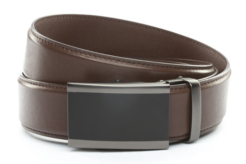 1-5-quot-onyx-buckle-in-matte-gunmetal 1-5-quot-dark-brown-leather-strap