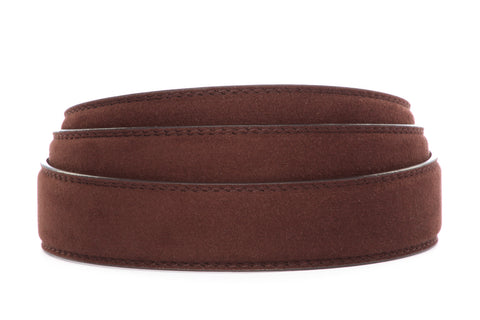"1.25"" Chocolate Micro-Suede Strap - Anson Belt & Buckle"