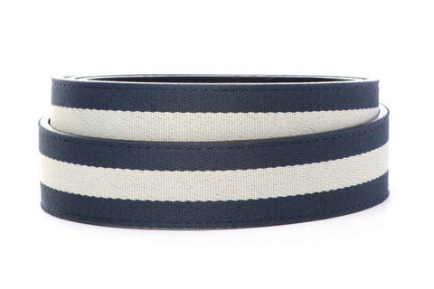 "1.5"" Navy w/White Stripe Cloth Strap - Anson Belt & Buckle"