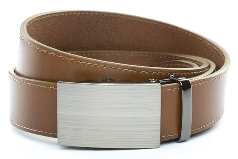 1-5-quot-classic-buckle-in-formal-gunmetal 1-5-quot-light-brown-vegetable-tanned-leather-strap