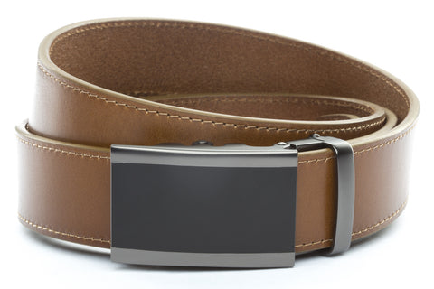 1-5-quot-onyx-buckle-in-matte-gunmetal 1-5-quot-light-brown-vegetable-tanned-leather-strap