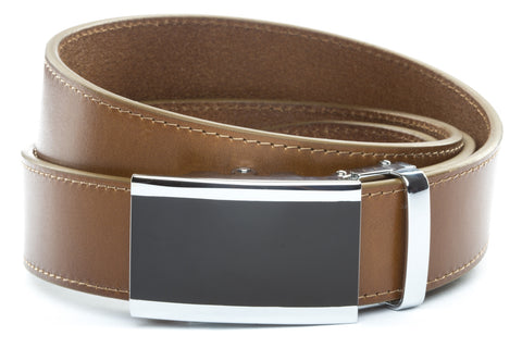 1-5-quot-onyx-buckle-in-silver 1-5-quot-light-brown-vegetable-tanned-leather-strap
