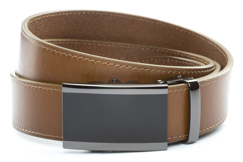 1-5-quot-onyx-buckle-in-smoked-gunmetal 1-5-quot-light-brown-vegetable-tanned-leather-strap