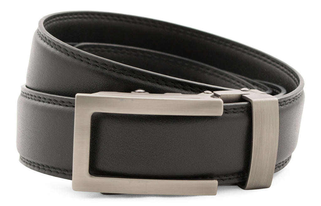 "Black Formal Leather w/Traditional in Gunmetal Buckle (1.25"")"