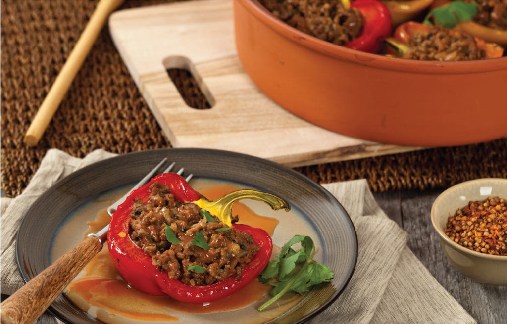 Loaded beef-pilaf peppers
