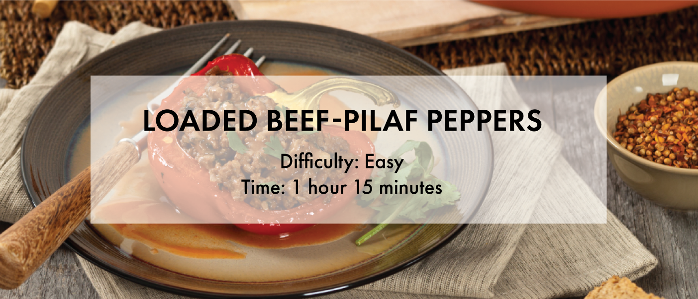 Loaded beef peppers recipe banner
