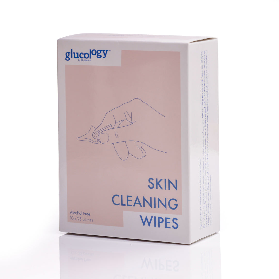 Glucology™ Alcohol Free Finger Cleaning Wipes | 250 Wipes (10x25)