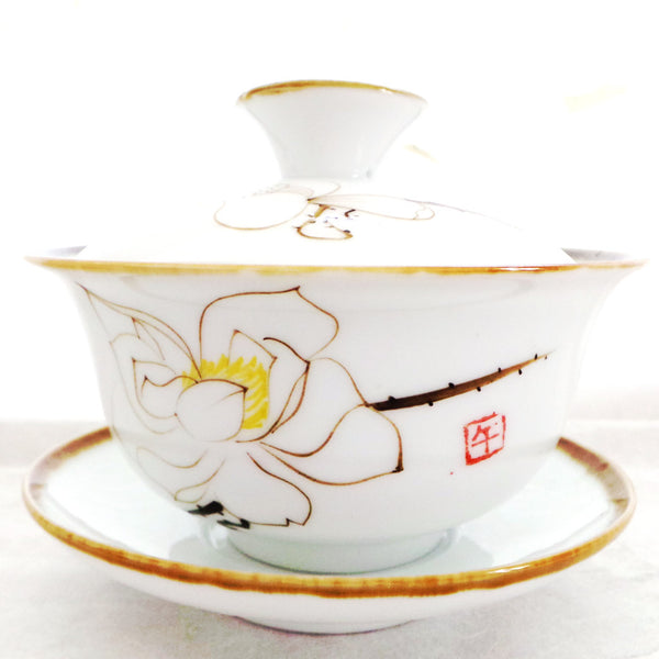 White Hand Painted Tea Bowl