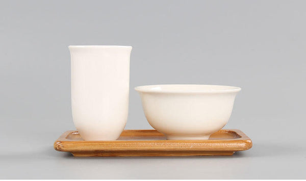 Aroma Tea Cup Set with Bamboo Base