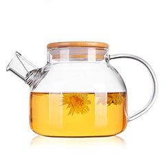 400 ml Bamboo Lid Glass Teapot or Coffee Pot